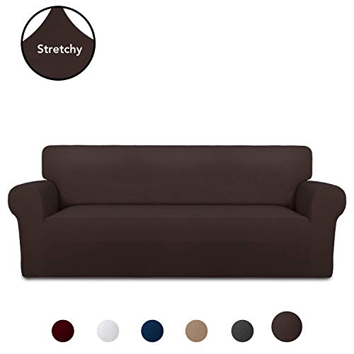 PureFit Super Stretch Chair Sofa Slipcover - Spandex Non Slip Soft Couch Sofa Cover, Washable Furniture Protector with Non Skid Foam and Elastic Bottom for Kids, Pets (Sofa, Chocolate)