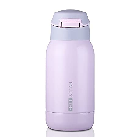 Pink Perfect for Kids//Children JIAQI Stainless Steel Water Bottle with Straw and Strap 260ml//8.8oz Leak-Proof Travel Coffee Mug Double Walled Vacuum Insulated Bottle One-Handed Open and Drink