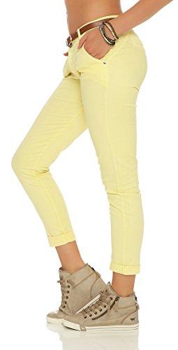 ZARMEXX estiran los pantalones flacos con la correa Chino-pantalones flacos de Jeggings de muchos colores amarillo