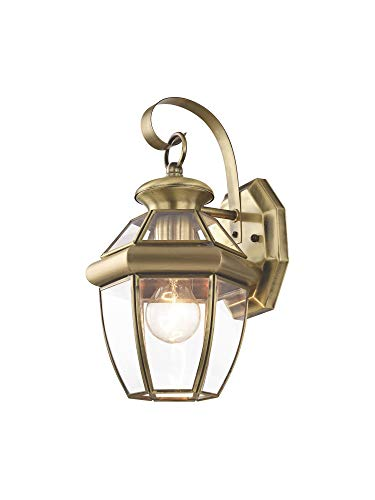 (Livex Lighting 2051-01 Monterey 1 Light Outdoor Antique Brass Finish Solid Brass Wall Lantern  with Clear Beveled Glass)