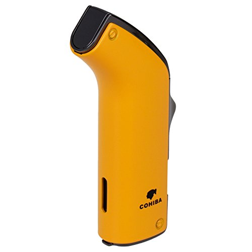 COHIBA Fashion Windproof Lighter Double Torch Jet Blue Flame Refillable Inflatable Cigar Lighter D0343 (Yellow) (Double Torch Flame Cigar Lighter)