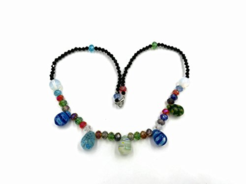 (Skyllc 12X18mm Mixed Color Egg-Shaped Artificial Glass Gemstone Beads Necklace Fashion Millefiori Flower Glass Beads Necklace)