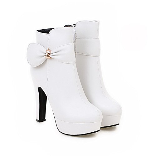 Women's Solid High Heels Round Closed Toe Pu Zipper Boots with Bowknot