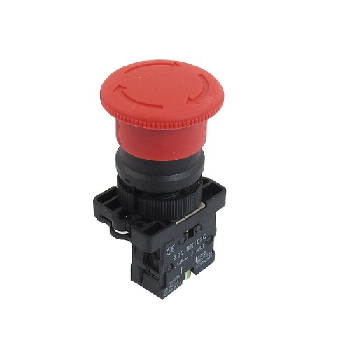 Uxcell a12082000ux0339 NC N/C Red Mushroom Emergency Stop Push Button Switch, 600V, 10 Amp, ZB2-ES542, 22 mm