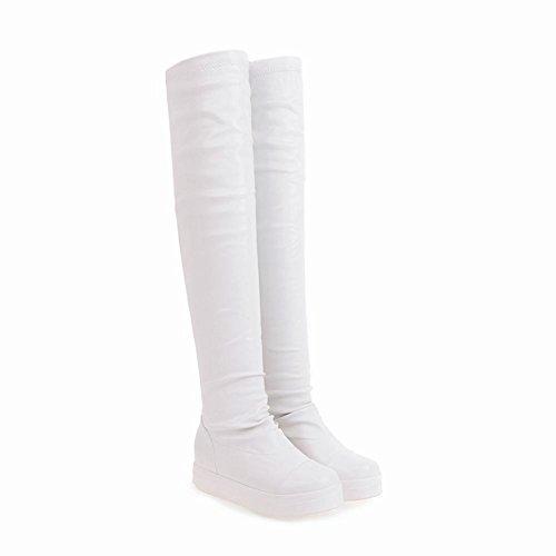Mee Shoes Damen overknee Durchgängiges Plateau Stiefel Weiß ...