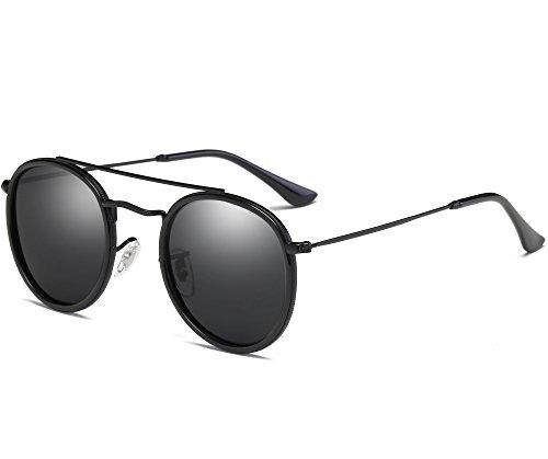 Joopin-Men Retro Brand Polarized Sunglasses Women Vintage Round Sunglasses (Black Retro, as the - Sunglasses Round Black