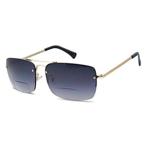 Classic Square Aviator Bifocal Sun Reading LIghtweight Sports Sunglasses for Men and Women (Gold | Smoke Gradient, 3.25)