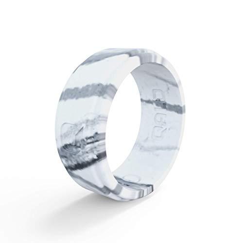 (QALO Men's White Marble Step Edge Silicone Ring Size 10)