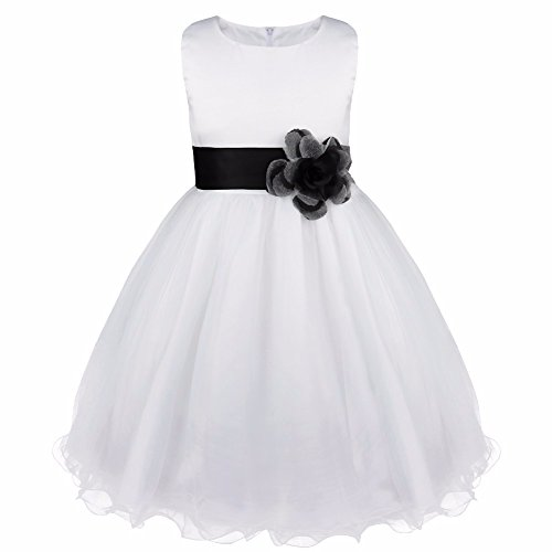FEESHOW Satin Bodice White Communion Flower Girl Wedding Party Pageant Dress Black 6 -