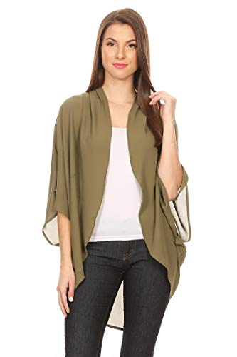 Casual Solid Color Loose Fit Open Front Cardigan/Made in USA Olive 2XL ()