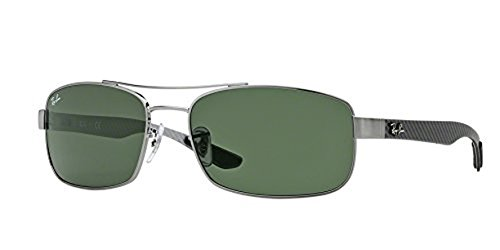 Ray-Ban RB8316 Sunglasses Gunmetal/Crystal Green 62mm & Cleaning Kit ()
