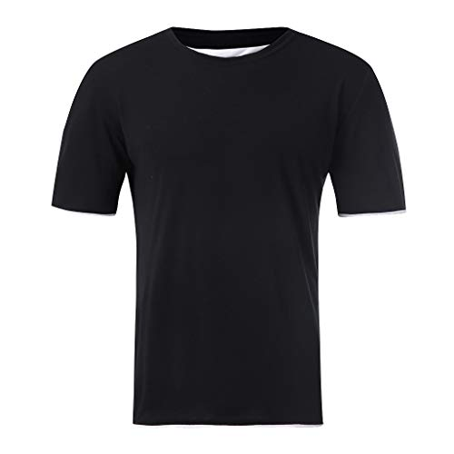 OrchidAmor 2019 Summer Mens Fashion Casual Solid Color Fake Two Short-Sleeved T-Shirt Blouse Top Black