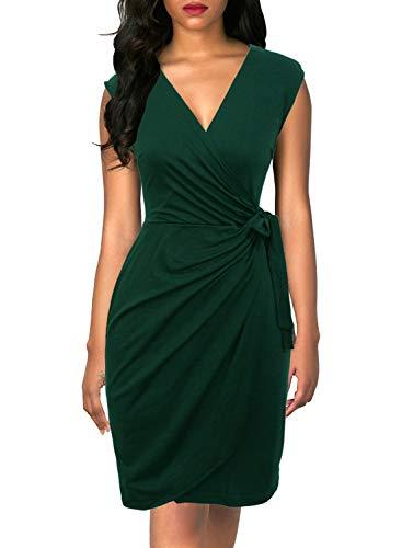Berydress Women's Vintage V-Neck Sheath Casual Party Work Faux Black Wrap Dress (S, 6028-Dark Green)