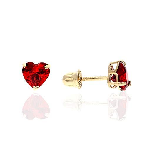 14K Yellow Gold Birthstone Heart Screw Back Stud Earrings 5mm