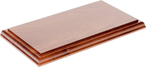 "Plymor Solid Walnut Rectangular Wood Display Base with Ogee Edge, 0.75"" H x 9"" W x 3.5"" D"