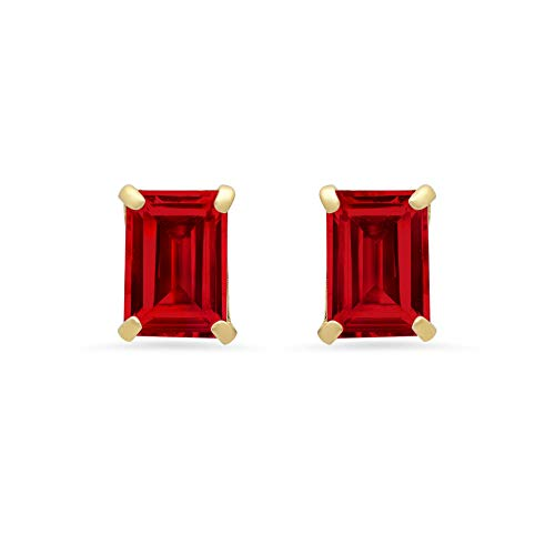 14k White or Yellow Gold Solitaire Emerald-Cut Created Ruby Stud Earrings (7x5mm)