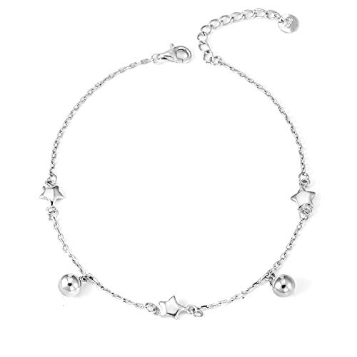 (LINGBG S925 Sterling Silver Anklet for Women Gilrs Star Beads Cable Chain Adjustable Summer Beach Style Foot Ankle Jewelry Gift)