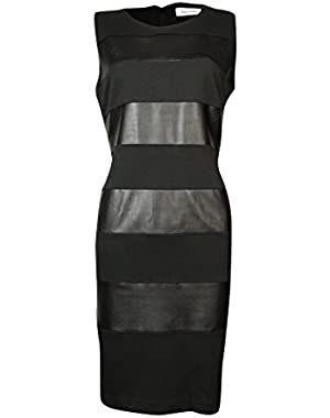 Calvin Klein Women's Faux Leather Striped Ponte Sheath Dress (8P, Black)