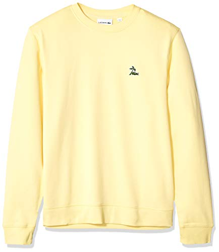 Lacoste Men's Long Sleeve French Terry Embroidered Graphic Sweatshirt, NAPOLITAN Yellow, ()