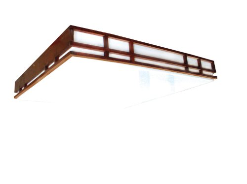 Lighting by AFX MCC2U3R8 Mission Style Wood Frame 2-32 Watt U-Bent T8, Cherry Finish with White Acrylic Diffuser (Lighting White American Ceiling Fluorescent)