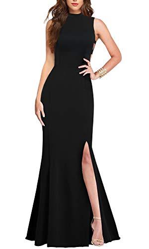 - Lamilus Formal Dresses for Women Evening Long Dress, Women's Elegance Mock Neck Sleeveless Cutout Side Slit Party Wedding Guest Dress Fishtail Prom Gown (S,Black-L029)