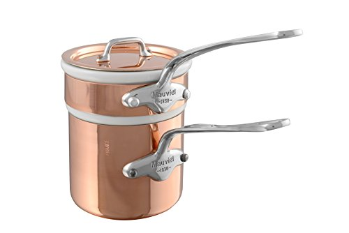 Mauviel M150S Bain Marie 12 Cm With Lid (Non-Hammered) (Handle: Stainless (Copper Bain Marie)