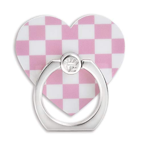 Velvet Caviar Cell Phone Ring Holder - Finger Ring & Stand - Improves Phone Grip Compatible with iPhone, Galaxy and Most Cases (Except Silicone/Leather) - Pink Checkered Heart
