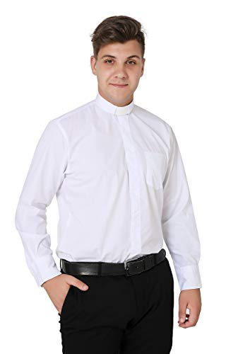 Ivyrobes Mens Tab-Collar Long Sleeves Clergy Shirt White (Necksize 16.5