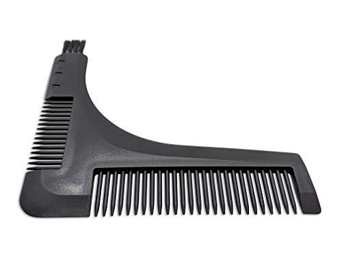 Beard shaping & styling tool with grooming combs & electric trimmer and razor cleaning brush. Get precise symmetrical lines using the guided beard template stencil