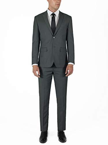ALAIN DUPETIT Men's Three Piece TR Blend Suit in Many Colors (Birdseye Grey, 52 Long / 46 Waist) ()