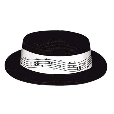 [Black Plastic Skimmer w/Music Staff & Notes Band Party Accessory (1 count)] (Bk King Costume)