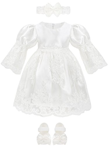 Lilax Baby Girl Newborn Christening Baptism 3/4 Sleeve Lace White Dress Gown 4 Piece Deluxe Set 0-3 Months from Lilax