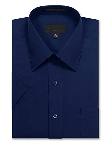 (JD Apparel Men's Regular Fit Short Sleeve Dress Shirts 15-15.5N Medium Navy)