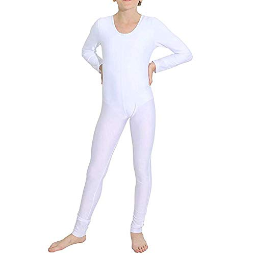 iEFiEL Girls Long Sleeve Ballet Dance Gymnastics Kids Catsuit Bodysuits Unitard Dancewear Costume White Crew Neck 7-8 ()