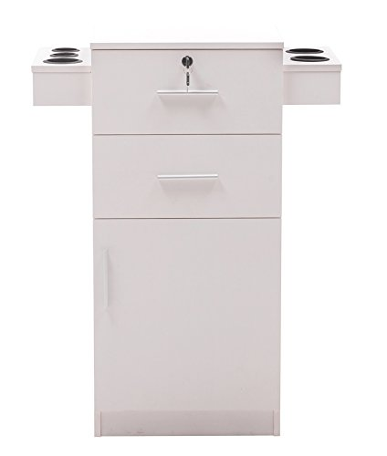 BarberPub Locking Beauty Salon Storage Hair Dryer Holder Stylist Equipment Drawer 2021 (White)