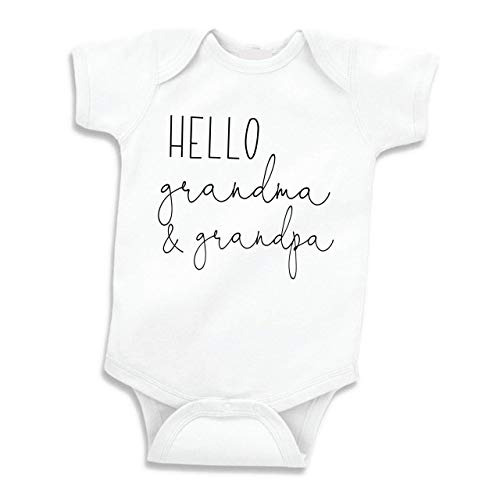 Bump and Beyond Designs Hello Grandma and Grandpa Pregnancy Announcement Gifts (White 0-3 Months)