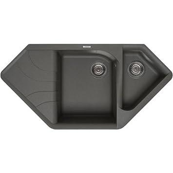 Waschbecken küche granit  Elleci Ego Corner Vitrotek 3G Black Waschbecken Spüle Granit ...