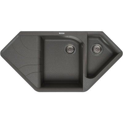 Elleci Ego Corner Vitrotek 3G Black Waschbecken Spüle Granit ...