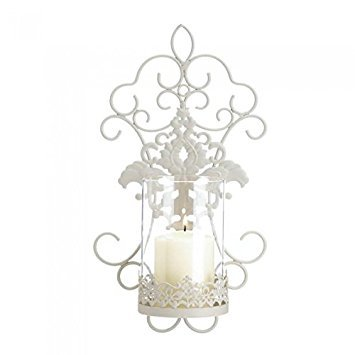 (Zings & Thingz 57073471 Romantic LACE Candle Sconce, White)