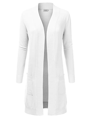 JJ Perfection Womens Light Weight Long Sleeve Open Front Long Cardigan,Awocal0273_white,Large