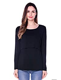 Bearsland Women's Maternity Nursing Tops Long Sleeve Breastfeeding Shirt