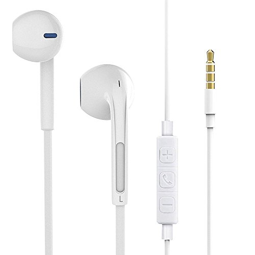 Wired Earphones,Earbuds In-ear Noise-isolating Sport Headphones with Mic & Volume Control Noise Cancelling Light Weight 3.5mm Jack(White)