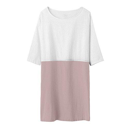 DE para Vestir de algodón Vestidos Ropa Lino Mujer Vestido Suelto túnica ❤️ Mangas Bolsillos Rosado Casual Camisetas Mujer Modaworld Vestido 1 con de Falda Casual 2 de Y8qw8PBZ