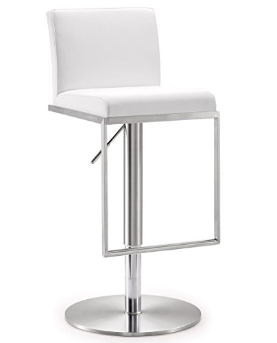 TOV Furniture 16.5W x 17.7D x 31.5 - 41.15H inches- 33lbs  Amalfi Stainless Steel Adjustable Barstool ,White