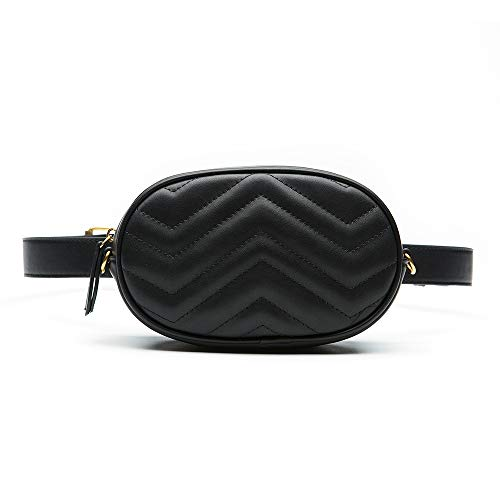 Belted Quilted Belt - Herald Fashion Elegant Quilted Leather Fanny Pack Classy Wasit Bag with Two Belts