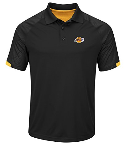 VF LSG NBA Los Angeles Lakers Men's Excitement Synthetic Polo Shirt, Small, Black/Yellow Gold
