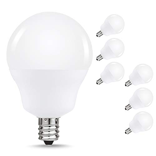 40W Equivalent LED Candelabra Light Bulbs, JandCase G14 Globe Blubs for Ceiling Fan, Vanity Mirror Light, 5W, 450lm, Daylight White 6000K, Bright White, Suitable for Bathroom, Living Room, 6 Pack Candelabra Base Miniature Light Bulb