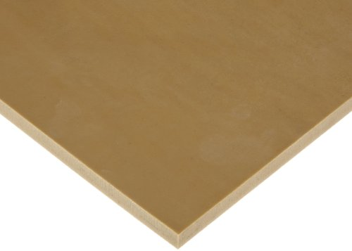 Natural (Gum) Rubber Sheet, 40A Durometer, Smooth Finish, No Backing, Tan, 1/16'' Thickness, 12'' Width, 12'' Length by Small Parts