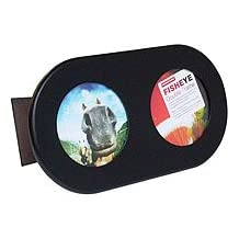 "Lomo Wood Double Fisheye Frame, with Two Circular Openings for 4"" x 6"" Fisheye Photographs, Color: Black."
