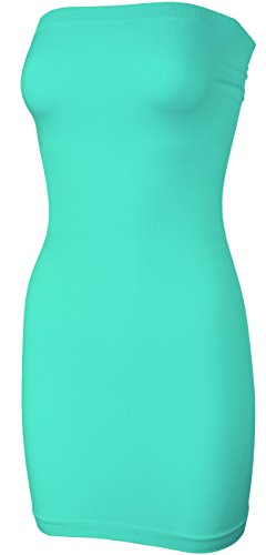 Mint Tube Dress - KMystic Seamless Strapless Tube Slip Dress (Mint),One Size
